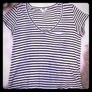 Paige Stripped V-Neck Tee